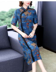 Chinese Cheongsam chiffon dress women flora print - astore.in