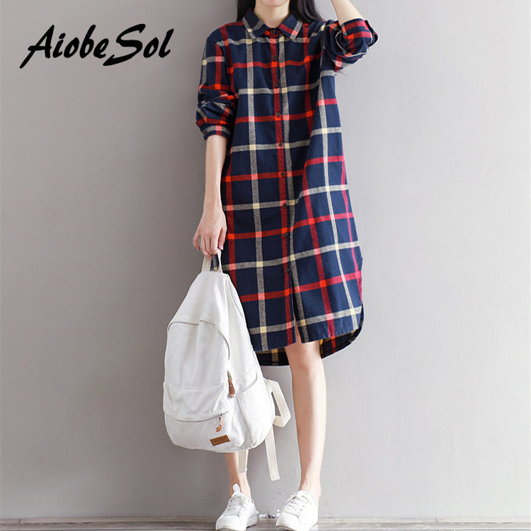 Korean Fashion Plaid Shirt Dress Spring Autumn 2018 Loose Preppy Long Sleeve - astore.in