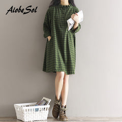 Plaid Cotton Dress 2018 Spring  Long Sleeve Shirt - astore.in