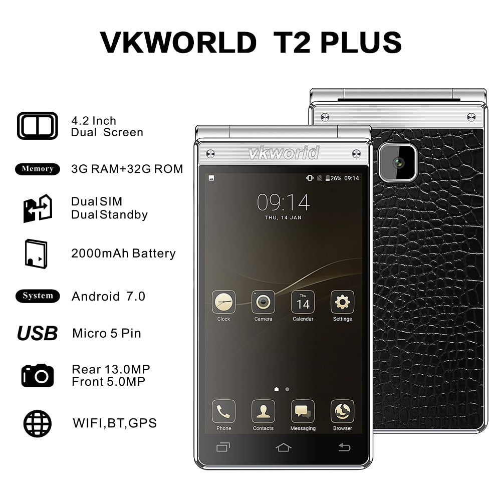 Vkworld T2 Plus Flip Phone Dual Screen  Android 7.0 3G RAM+32G ROM Quad Core 4G Smartphone - astore.in