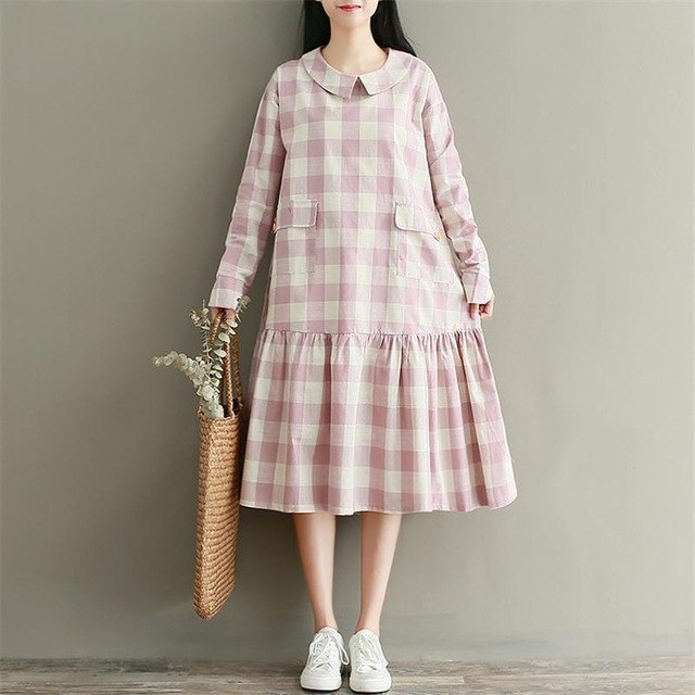 Japanese Mori Girl Dress 2018 Autumn Women Vintage Literary Plaid Peter Pan Collar Ruffles Long Sleeve Long Cotton Linen Dress - astore.in
