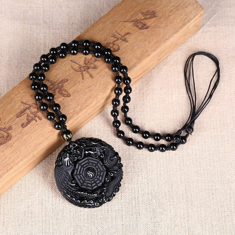 Black Obsidian Carving Dragon Men/Women Phoenix Necklace Pendant Obsidian Lucky Pendants - astore.in