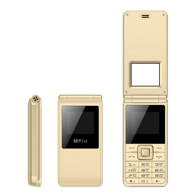 SERVO Flip Phone Dual SIM Card Cellphone GSM - astore.in