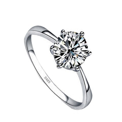 Classic Six Claw 6mm Zircon Ring For Women Jewelry Silver Color - astore.in