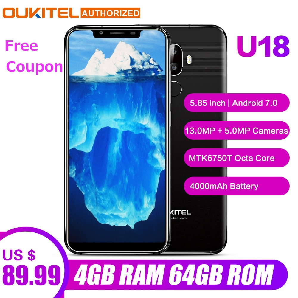 OUKITEL U18 Face ID Smartphone  5.85 inch 21:9 Android 7.0 Octa Core 4GB RAM 64GB ROM 4000mAh 16MP+13MP 4G Mobile Phone - astore.in