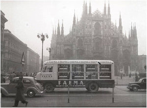 Old FAEMA truck delivering coffee machines in Milan, Italy