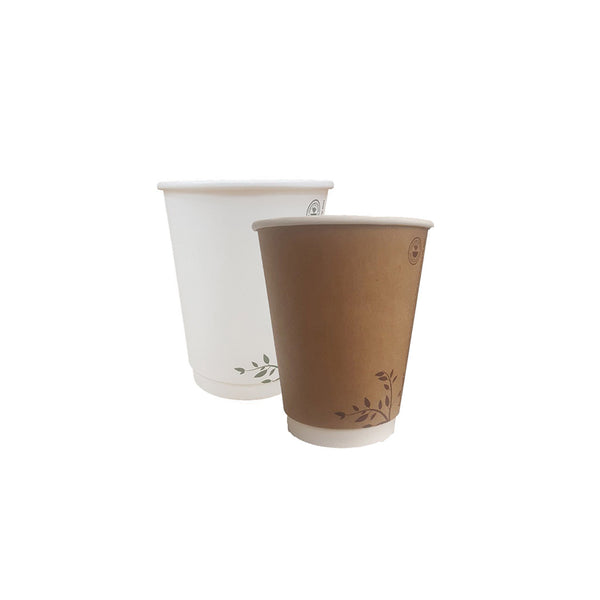 8oz Compostable Cups White/Brown