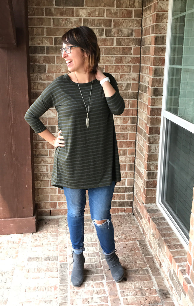 Beau Tunic Front View - Women's Gray Olive Striped Tunic with High-Low Cut & Criss Cross Detail