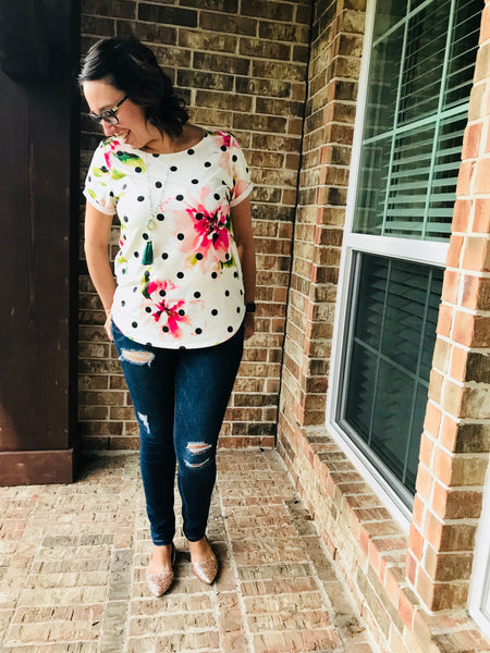 Wearing Penny Top - Women's Top with Polka Dots and Watercolor Flowers