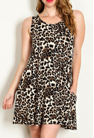 Leopard Print Tunic Dress for Women
