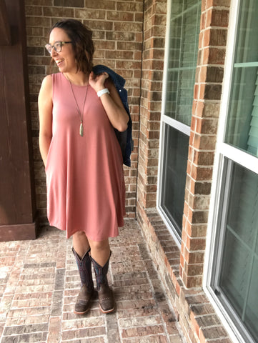 Wearing Annie Dress - Simple Rose-Colored Tank Dress with Pockets