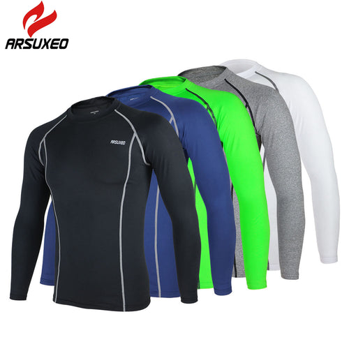 ARSUXEO Cycling Jersey Dry T Shirts Sports Running Fitness Bike Bicycle Baselayer Underwear Long Sleeve Jersey