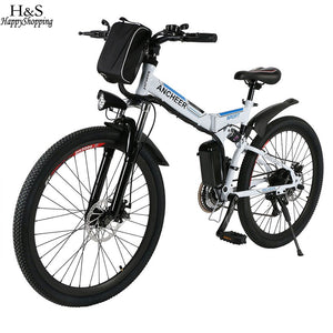 ANCHEER New Mountain Bike26inch 36V Foldable Electric Power Mountain Bicycle with Lithium-Ion Battery ebike USB Charging Hot