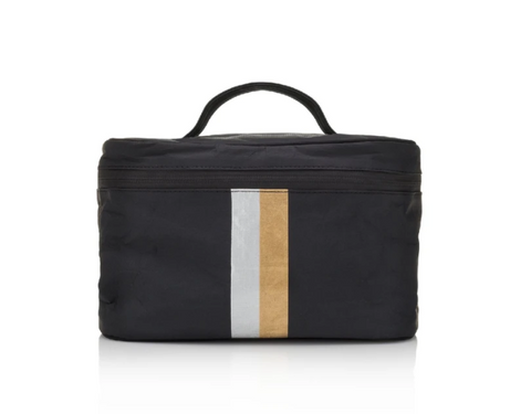 Hi Love Cosmetic Case and Makeup Bag Black with Metallic Stripes Cute Travel Toiletry Bag