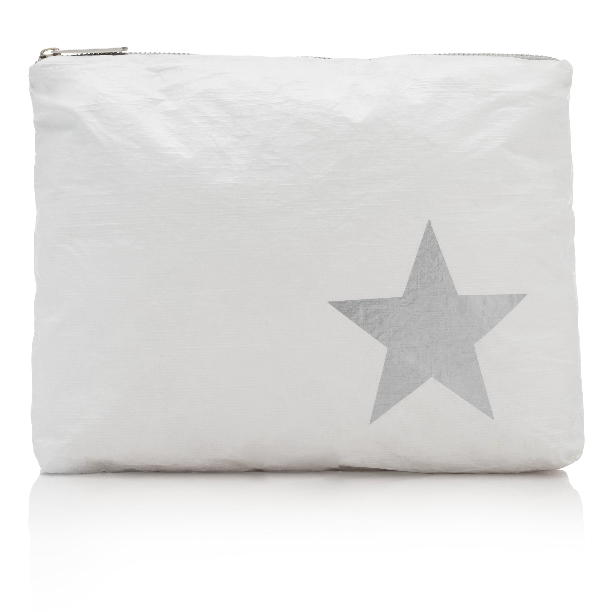 Travel Pack - Makeup Pouch - Beach Bag - Medium Pack - White with Metallic Silver Star