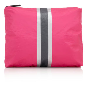 Makeup Bag - Medium Pack - Pink Peacock with Silver and Black Stripes