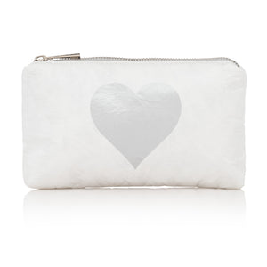 Cute Travel Clutch - Travel Pouch - Mini Padded Pack - White with Metallic Silver Heart