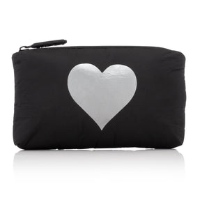 Mini Padded Pack - Black with Silver Heart