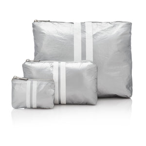 Cute Travel Bag Set - Set of Three Packs - Metallic Silver Collection with Shimmer White Stripes