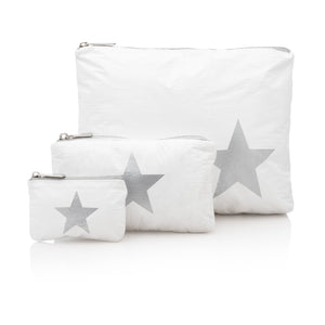 Set of Three Packs - White with a Metallic Silver Star