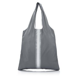 Cute Travel Bag - Carryall Tote - Cool Gray HLT Collection with White and Metallic Silver Stripes