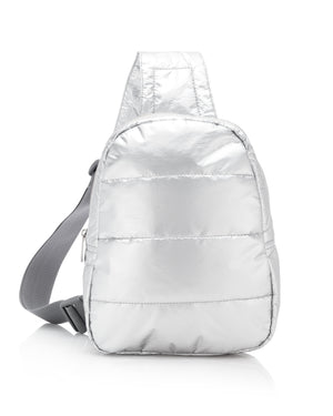 Travel Backpack - Gym Bag - Crossbody Fashion - Puffer Crossbody Backpack - Metallic Silver Bag