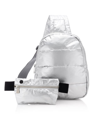 Cute Gym Backpack Hi Love Motivate to Move Set II - Metallic Silver Crossbody with Metallic Silver Fanny Pack