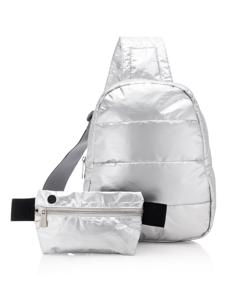 Motivate to Move Set II - Metallic Silver Crossbody with Silver Metallic Invisible Pack