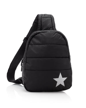 Travel Backpack - Gym Bag - Crossbody Fashion - Puffer Crossbody Backpack - Black with Metallic Silver Star