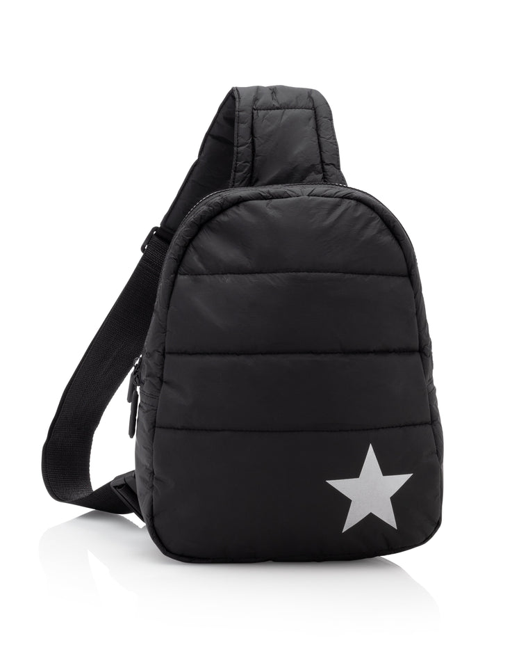 Crossbody Backpack - Black with a Metallic Silver Star