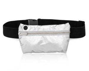 Cute Fanny Lightweight Hi Love Metallic Silver II Fanny Pack Splash Resistant