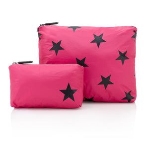 Set of Two - Pink Peacock with Black Stars