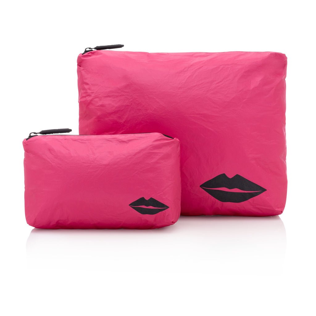 Set of Two - Pink Peacock with Black Lips
