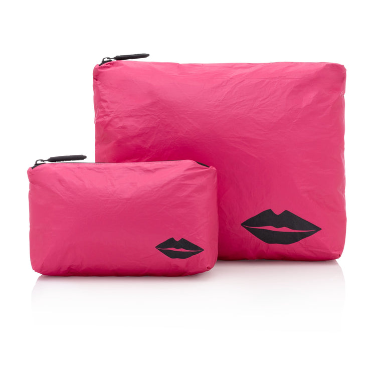 Set of Two - Pink Peacock with Metallic Lips
