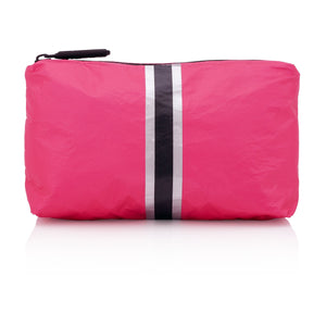 Cute Travel Pack - Mini Pack - Pink Peacock with Metallic Silver and Black Stripes