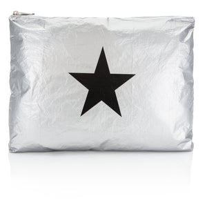 Hi Love Cute Jumbo Travel Bag - Metallic Silver with Black Star - Cool Gym Bag