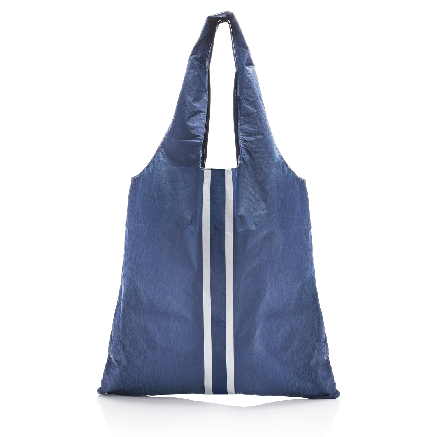 Carryall Tote - Shimmer Navy HLT Collection with Silver Lines