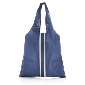 Carryall Tote - Shimmer Navy HLT Collection with Metallic Silver Stripes