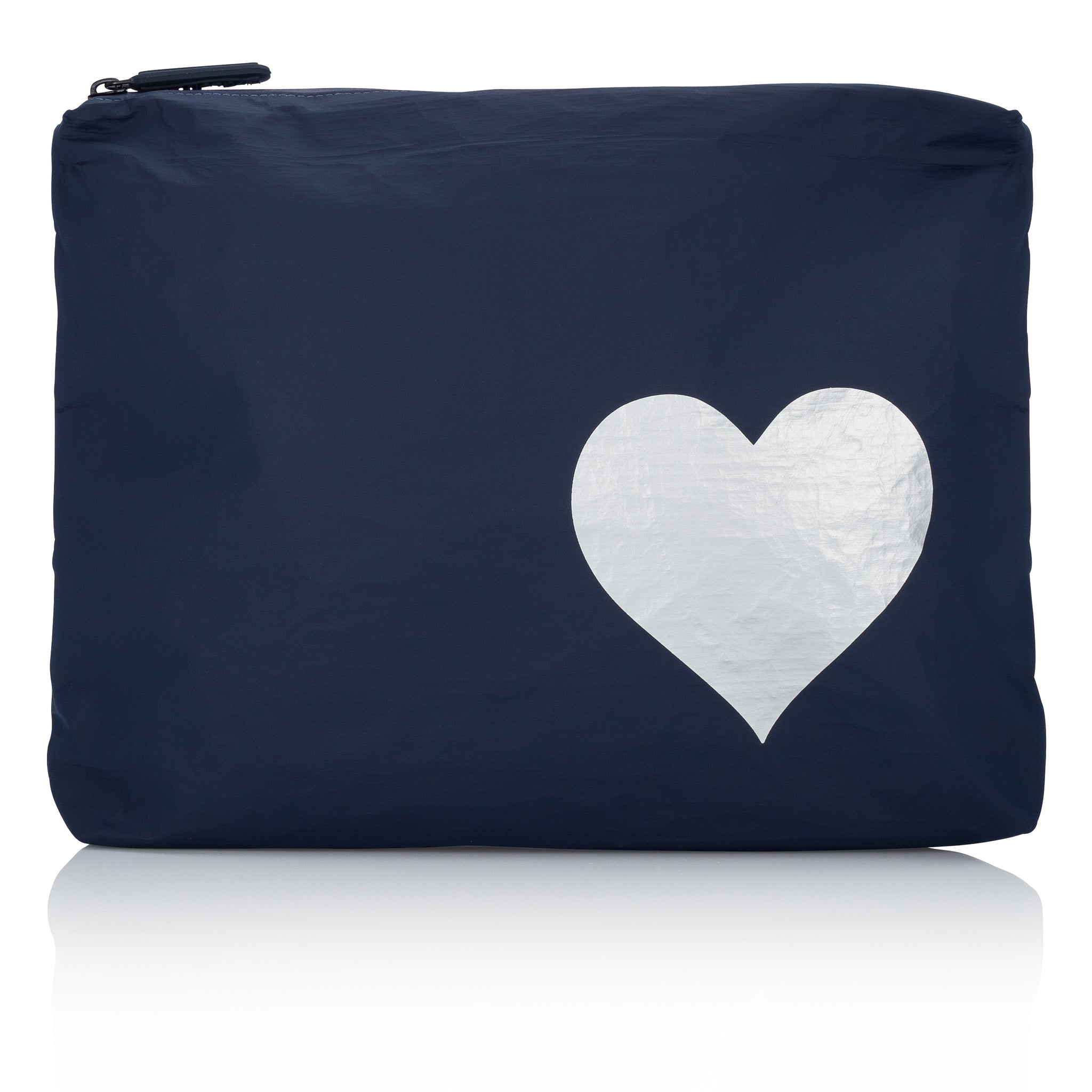 Makeup Pouch - Travel Pack - Toiletry Bag - Medium Pack - Navy with Silver Heart