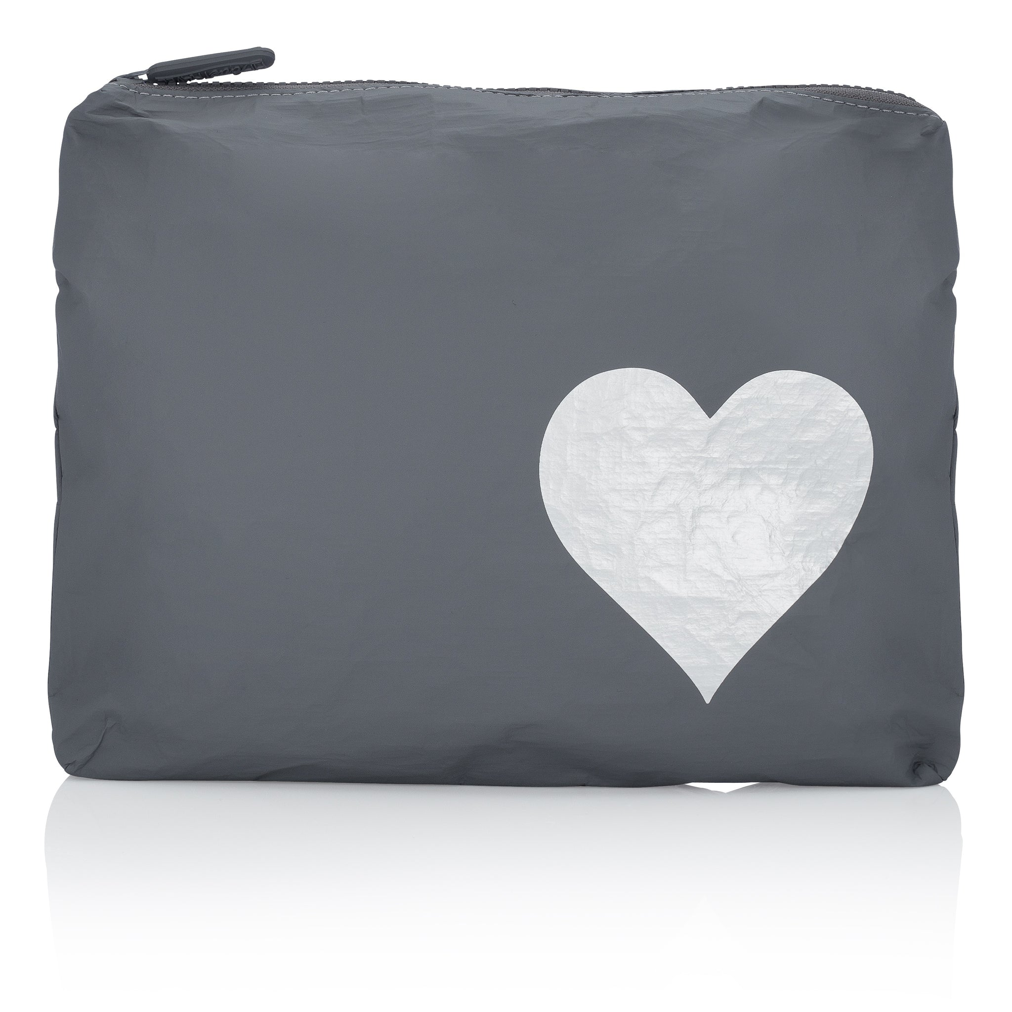 Makeup Pouch - Travel Pack - Medium Pack - Cool Gray with Metallic Silver Heart