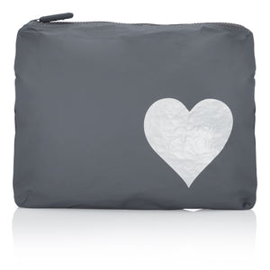Makeup Pouch - Travel Pack - Medium Pack - Cool Gray with Silver Heart