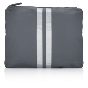 Cute Travel Pouch - Medium Pack - Cool Gray HLT Collection with Metallic Silver Stripes