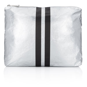 Makeup Bag - Medium Pack - Metallic Silver Collection with Black Stripes