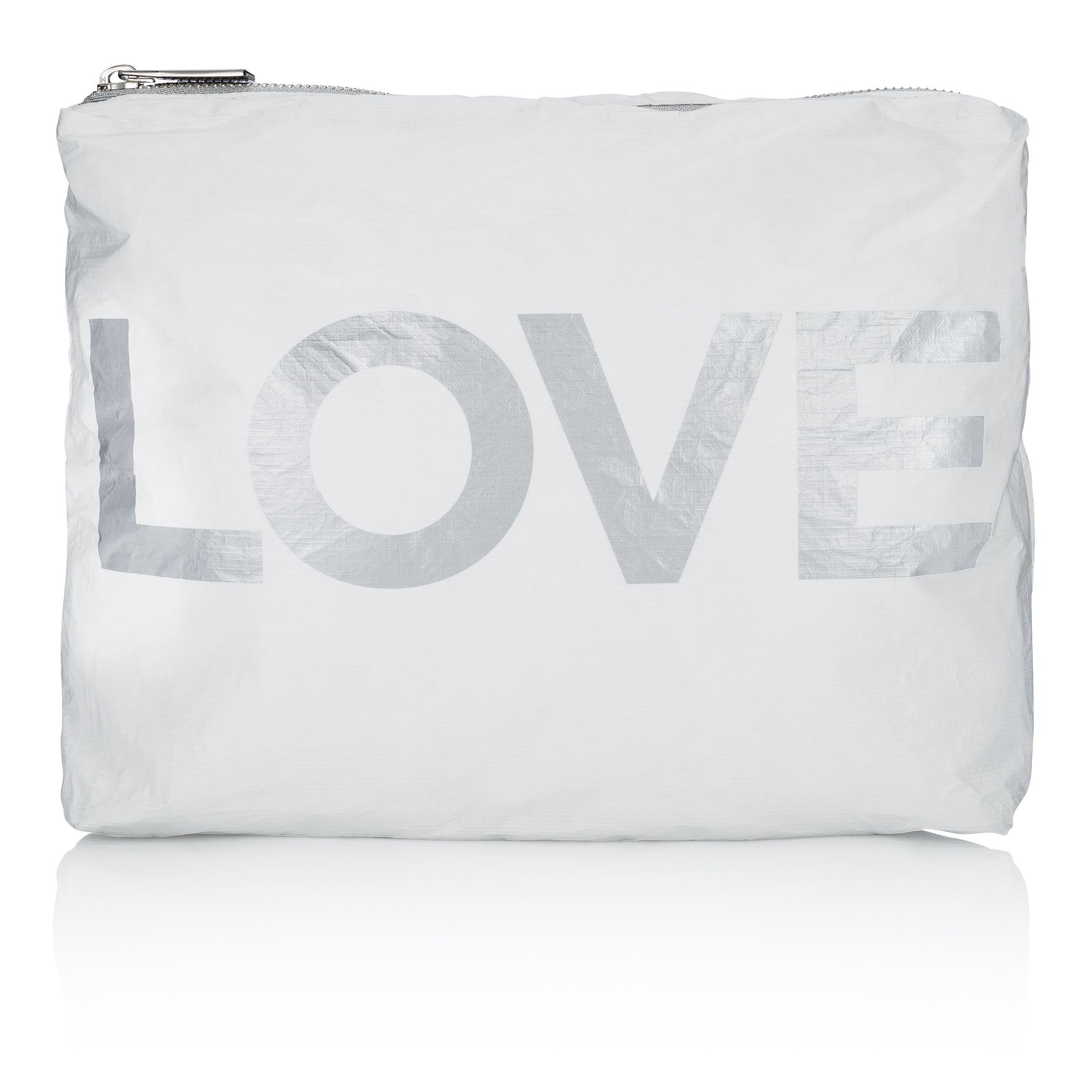 "Makeup Bag - Beach Bag - Travel Pack - Medium Pack - White with Silver ""LOVE"""