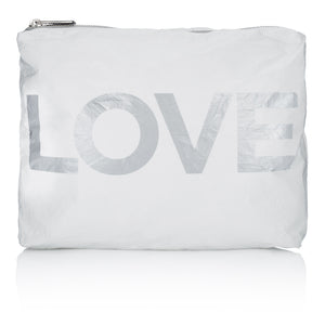 "Makeup Bag - Beach Bag - Travel Pack - Medium Pack - White with Metallic Silver ""LOVE"""