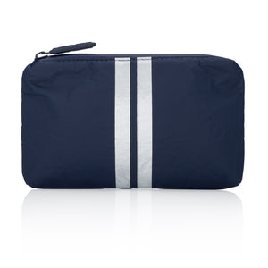 Cute Travel Bag - Mini Padded Pack - Navy HLT Collection with Metallic Silver Stripes