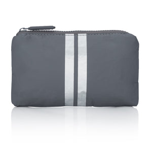 Cute Travel Clutch - Mini Padded Pack - Cool Gray HLT Collection with Metallic Silver Stripes