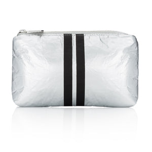 Cute Travel Bag - Mini Padded Pack - Metallic Silver Collection with Black Stripes