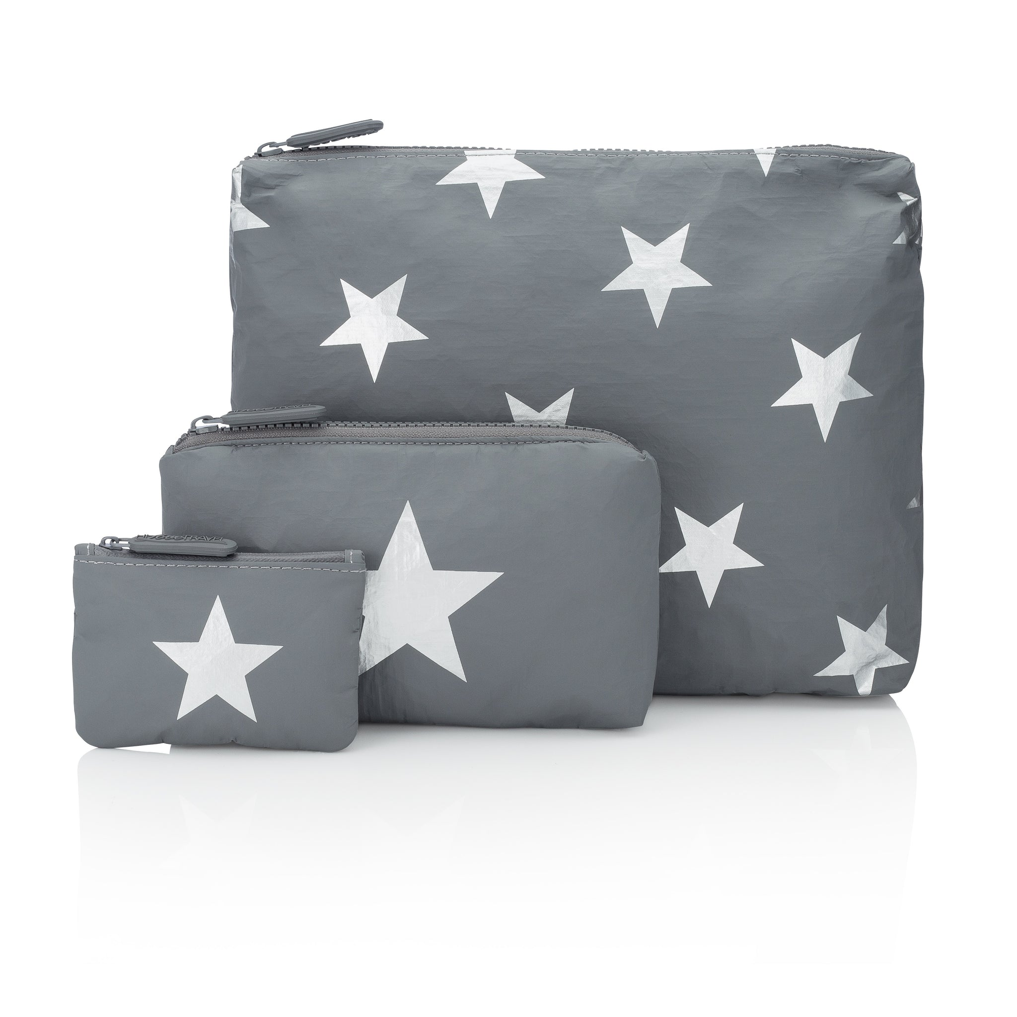 Travel Pack - Makeup Bag - Set of Three Packs - Cool Gray HLT Collection with Metallic Silver Stars