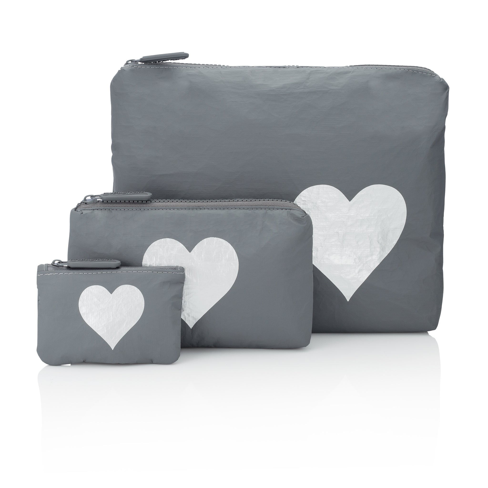 Travel Pack - Makeup Bag - Set of Three Packs - Cool Gray HLT Collection with Metallic Silver Heart